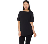 Joan Rivers Jersey Knit Tunic Top with Shirt Tail Hem Black Color Size XS