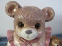 VINTAGE TEDDY BEAR COOKIE JAR WEARING NIGHTGOWN (WITH GLASS EYES AND CUB)