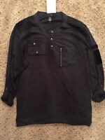 INC Henley Style Casual Shirt Black Mens Size Medium New