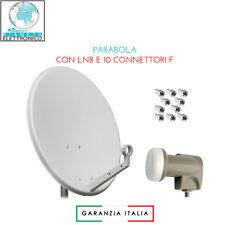 ANTENNA PARABOLA SATELLITARE DVBS 80CM CON LNB EMMEESSE OMAGGIO 10 CONNETTORI F.