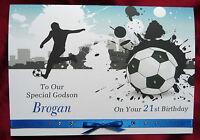 Personalised Handmade A5 Birthday Card Football 18th 21st 30th 60th 65th (1561B)