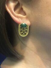Genuine Emerald Shield 22kt Gold Over Sterling Silver Dangle Earrings