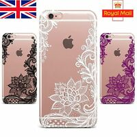 Wedding Lace Mandala Henna Soft TPU Silicone Case Cover for iPhone 8 X 6s 7 PLUS