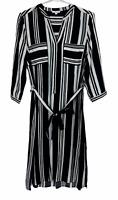 W Lane Womens Black/White Striped Long Sleeve Dress with Belt Size 10