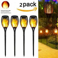 2Pcs 96 LED Solar Powered Flame Tiki Torch Light Dancing/Flickering Pathway Lamp