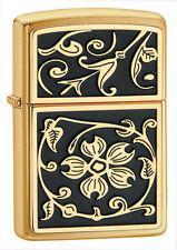 Zippo 20903, Gold Floral Emblem Brushed Brass, ***6 Extra Flints/Wick***