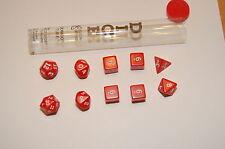 10pc RED Opaque dice set D&D D20  RPG KOPLOW D4 D6 D8 D10 D12