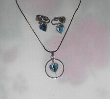 SEA OPAL PAUA SHELL HEART NECKLACE & CLIP-0N EARRINGS SET BY ANZAC FREE SHIPPING