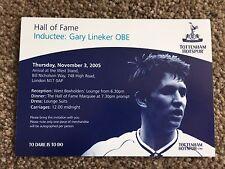 Gary Lineker Hall Of Fame Ticket - Tottenham Spurs - 2005 White Hart Lane