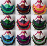 Mix Color Satin 12 Yard Tiered Gypsy Skirt BellyDance Ruffle Flamenco Jupe Gonna