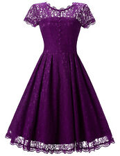 US 50s 60s Women's Vintage Retro Lace Floral Pinup Housewife Party Swing Dress