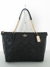 Nwt Coach Black Ava Chain Tote Large In Quilted Leather Bag - $495.00