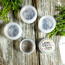 12 Plastic JARS Pot Mini Container .25 oz 1/4oz size 3301 Clear Cap DecoJars USA