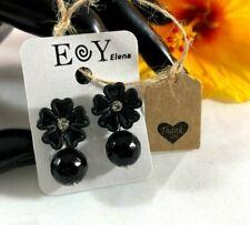 Earrings for Women Drop/Dangle Black Flowers