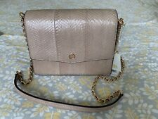 Tory Burch Robinson Exotic Convertible Snake Skin Shoulder Bag LIGHT TAUPE 52344