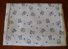 Remnant Fabric Material White with Teddy Bears & Hearts-Half Metre 112 cm Wide