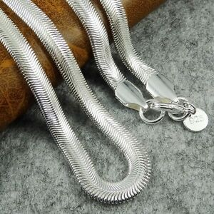 """6mm Flat Solid 925 Silver Sterling Snake Chain Necklace 16""""-24"""" UK"""