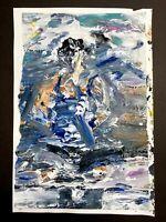"""Sitting"" Woman Sitting Yoga Impressionist Blue Painting by Steven Tannenbaum"