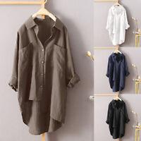 Women Irregular Buttons Down Asymmetrical High Casual Shirt Tops Blouse Plus P