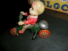 VINTAGE CELLULOID BOY DOLL on FRICTION TIN TOY TRICYCLE BIKE BELL Occupied Japan