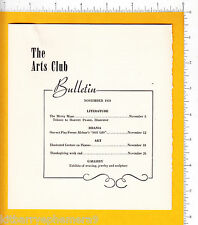 6804 The Arts Club Bulletin 1950 schedule Louisville KY Paul Pearson, Kitty Helm