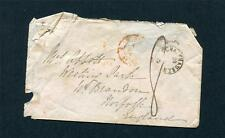 1855 STAMPLESS PART COVER FRANCE TO NORFOLK