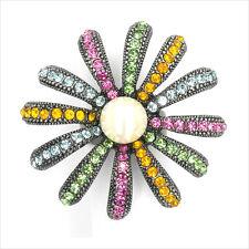 Sunflower Flower Cocktail Rings Repro VTG Crystal Multicolor White Pearl New 144