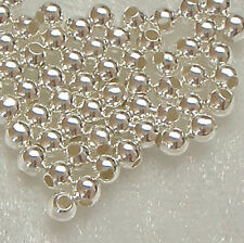 Pack of 100 3mm Sterling Silver Round Seamless Spacer Beads