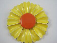 "Vinatge 3-D Bright Yellow & Orange Enamel Flower Brooch Pin 2 3/4"""