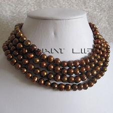 "60"" 7-9mm Coffee Freshwater Pearl Necklace Off Round Strand Fashion Jewelry U"
