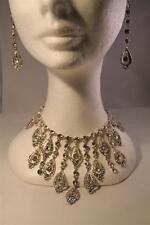 parure collier boucles d'oreilles en strass sur couleur argent [TL-080argent]