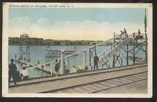 Postcard SILVER LAKE NY  Walkers Beach Water Slide & Diving Tower 1910's
