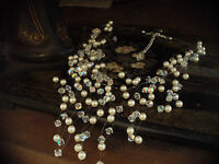 Multi Strand AB Crystal & Pearl Necklace on Illusion Thread
