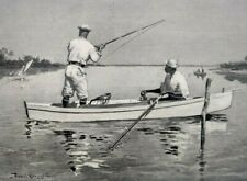 1897 Frederic Remington Tarpon Fishing In Florida Engraving Print Art
