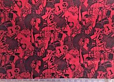 Japanese Geisha Oriental Asian Red & Black Fabric (By The Yard) Japan, Cat