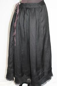 "RARE EDWARDIAN ANTIQUE FRENCH BLACK FINE BROCADE WOOL SKIRT 32 "" WAIST"