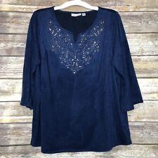 Susan Graver Blue Embellished Faux Suede 3/4 Sleeve Top Size Medium Split V-Neck