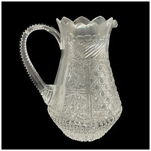 Signed, Hand Cut Crystal Pitcher Turkish Glass Scalloped Rim