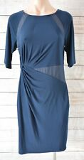 ADRIANNA PAPELL Dress Sz 10 Medium blue navy Stretch Pencil Shift Dress
