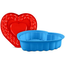 "12"" Silicone Cake Mold Large Heart Shape Foldable Muffin Pan Baking Moulds DIY"