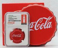 2018 Coca-Cola Coke Bottle Cap Silver Coin NGC PF70 Colorized $1 Fiji - JJ186