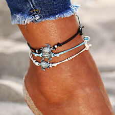 Retro Turtle Rope Anklet Beach Bracelet 3pcs Vintage Anklets for Women Bohemian