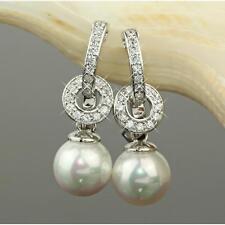 Pendientes Perlas colgante Blanco Bañado en oro 750 18 quilates PLATA o2615