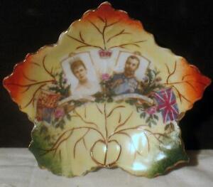 King George V & Queen Mary 1911 Coronation Tea Bag Holder Dish Canada Maple Leaf