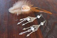 Gorgeous Handmade White Howlite Bead & Silver Triangle Arrow Pendant Earrings