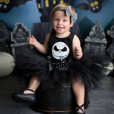 Newborn Infant Baby Girls Halloween Print Romper+Tutu Skirt Costume Outfits Set