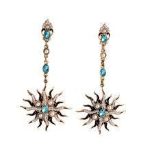 E1753 Russian Gold Baroque Pave Pearl Medusa Blue Gems Stone Dangle Earrings Hot