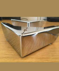 4x Chrome Metal Furniture Corner Legs Feet Sofas Stools L-Shape Pre Drilled
