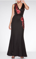 RRP £45 QUIZ Black and Red Embroidered Fishtail Maxi Dress SIZE 10