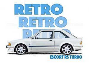 FORD ESCORT mk3 RS TURBO t-shirt. RETRO, CLASSIC CAR, MODIFIED, OLD SKOOL.